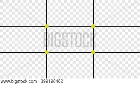 Composition Proportions Guidelines Set, Attention Spot Of Rule Of Thirds Template In 16 By 9 Ratio M