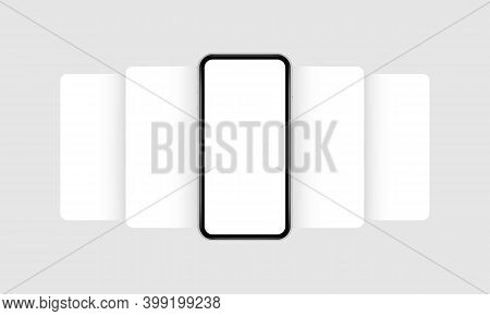 Smartphone Mockup With Blank App Screens. Mobile App Design Concept For Showcasing Screenshots. Vect