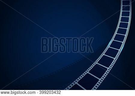 Realistic Cinema Film Strip In Perspective. Modern Cinema Background. Festive Design Film Frame With