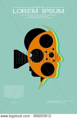 Retro Cinema Background. Silhouette Of Old Videoprojector And Film Reel Inside Human Head. Movie Des