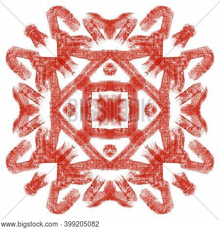 Texture Digital Painting Art Element For Carpet, Pillow, Fabric, Textile. Square Block As Accent For