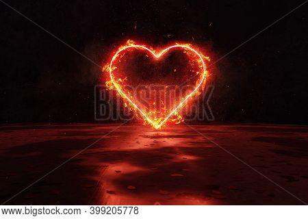 3d Rendering Of Red Lighten Heart Shape In Fire Against Grunge Wall Background