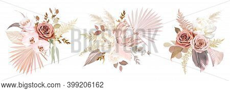 Trendy Dried Palm Leaves, Blush Pink And Rust Rose, Pale Protea, White Ranunculus, Pampas Grass Vect