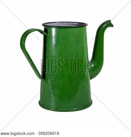 Old Metal Enameled Tea Coffee Pot Of Green Color Isolate On A White Background. Vintage Soviet Ename
