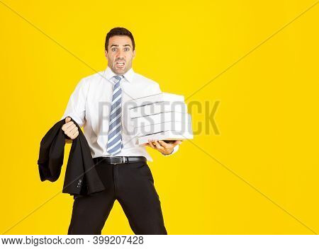 Business Man, Hard Working, Take Work To Home, With Copy Space