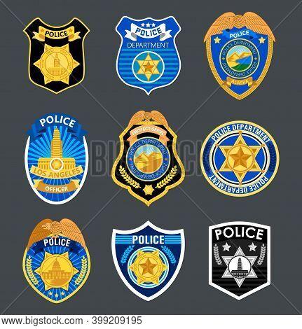 Police Badges Set Vector. Sheriff, Marshal Label Illustrations. Law Enforcement Emblems For National