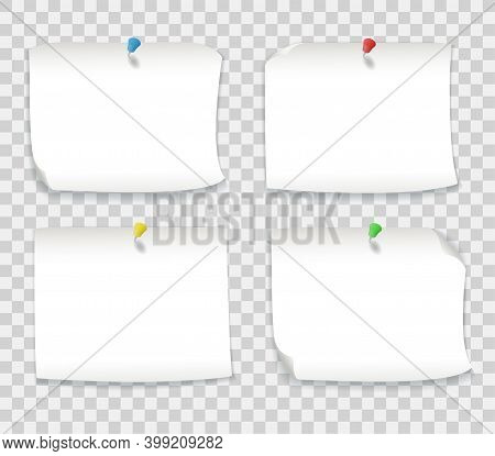 White Paper Notes With Colored Pins Isolated On Transparent Background. Vector Realistic Mockup Of B