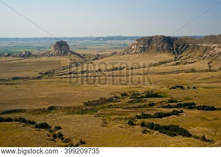 Panoramic View From The Top Of Scotts Bluff National Monument, Nebraska, With Dome Rock Prominent At