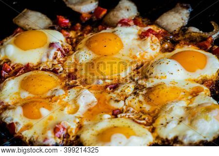 Fried Egg On Frying Pan. Fried Eggs In A Frying Pan.