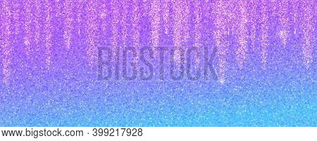Abstract Glittering Background. Garland Glitter Lights On Pink Blue Gradient With Shimmering Dust. V