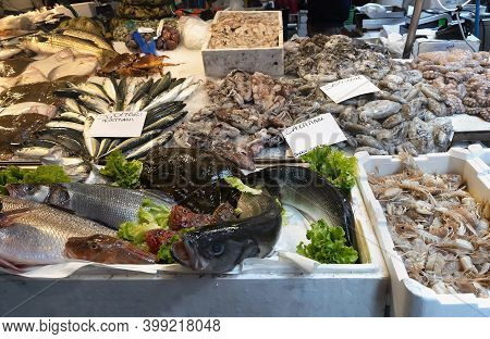 Display With Fish And Seafood At Rialto Fish Market In Venice, Italy.