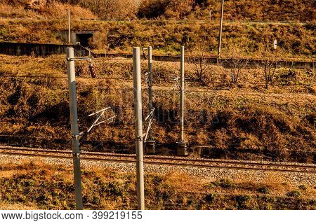 Railroad Power Transformer Station In Countryside On Sunny Day.