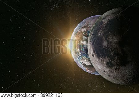 Moon, Planet Earth And The Sun In A Row, Solar Eclipse. Elements Of This Image Furnished By Nasa.