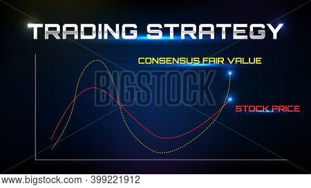 Abstract Background Of Trading Strategy Stock Market Consensus Fair Value And Actual Stock Market Pr