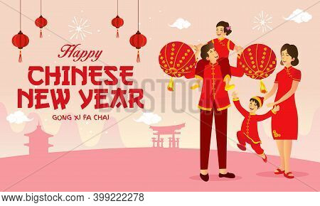 Happy Chinese New Year Greeting Card. Vector Illustration An Chinese Family Playing Chinese Lanterns