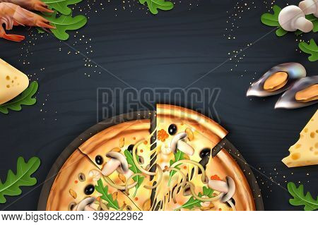 Pizza. Realistic Poster With Italian Food And Ingredients For Cooking. Top View On Wooden Table. Men