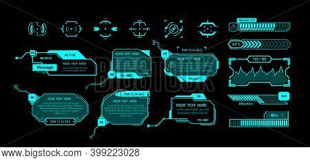 Hud Banners. Futuristic Interface Elements With Copy Space. Callout Message Boxes And Infographics,