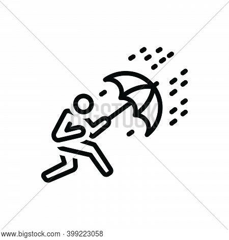 Black Line Icon For Crisis Trouble Menace Disaster Danger Scrape Deadlock Rain Umbrella Heavy-rain