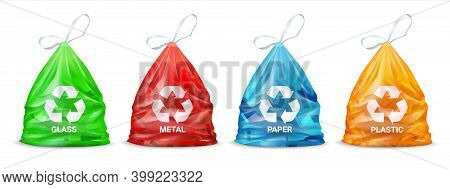 Garbage Sorting Bags. Realistic Plastic Colored Packages For Glass And Paper, Metal And Organic Rubb