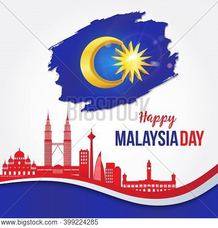 Vector Illustration Of Happy Malaysia Independence Day Celebration With City Skyline