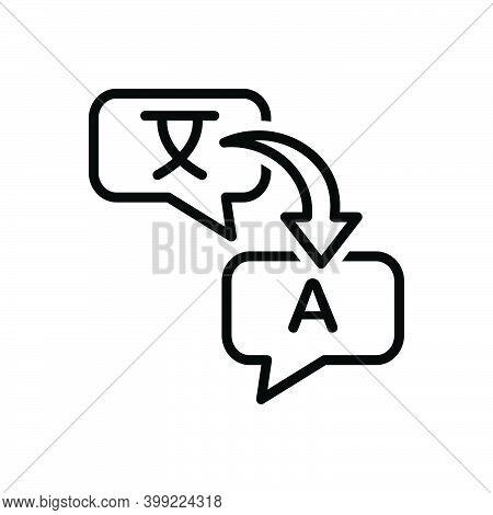 Black Line Icon For Translate Render Retranslate Interpret Explain Clarify Convert Decode Dictionary