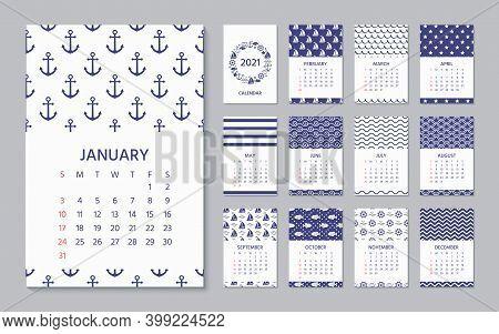 2021 Calendar. Vector. Week Starts Sunday. Calender Template In Nautical, Marine Style. Yearly Organ