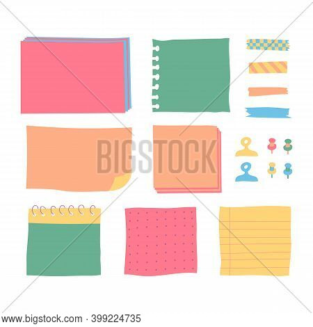 Copybook Linear Pages Lists Of Notebooks Different Sizes. Paper Banners With Notes Set Attached With