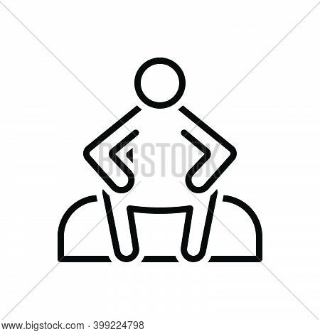 Black Line Icon For Sit Sit-down Relax Chair Rest Alone  Lonely Single Unhappy Sitting