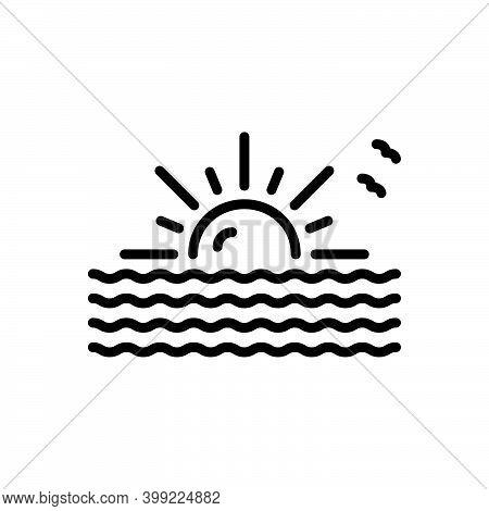 Black Line Icon For Arise Appear Begin Originate Morning Cloudscape Sunrise Evening Nature