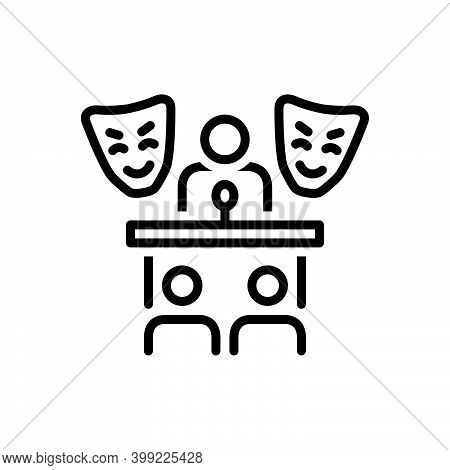 Black Line Icon For Role Prelude Introduction Foreword Preface Roleplay Pretend Dissemble Mask Audie