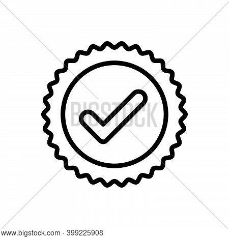 Black Line Icon For True Tick Ok Correct Right Accurate Veracious Acceptance Approved Confirm Checkl