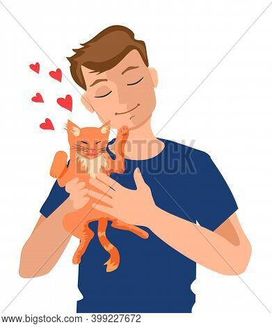 Boy Hugging Cat Pet Vector Illustration. Happy Young Man With Pet Image. Cat Pet Owner Character.dom