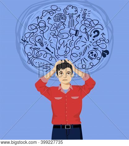Frustrated Man With Nervous Problem. Man Feel Anxiety And Confusion Of Thoughts. Man With Chronic Fa