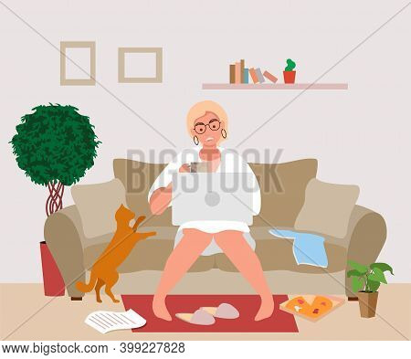 Freelance Woman Working Online In Living Room Sitting On Soft Couch. Remote Work From Home. Stress,