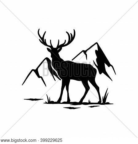Deer, Male, Horned - Mountain Landscape, Wildlife Stencils - Mountain Silhouettes For Cricut, Wildli