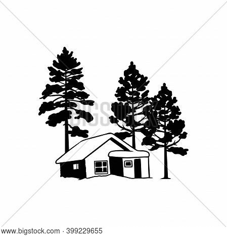 Snow-covered House, Chalet, Mountain Landscape - Wildlife Stencils - Mountain Silhouettes For Cricut