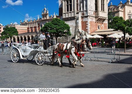 Krakow, Poland - 06 Sep 2015: The Fiacre In Krakow, Poland