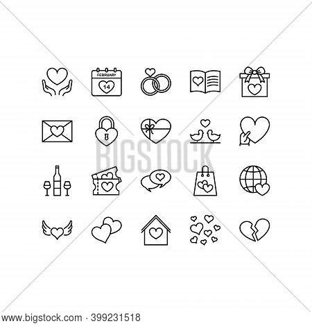 Set Of Valentine\'s Day Icon On White Background. Symbols Of Love - Heart, Cupid, Arrow, Valentine,