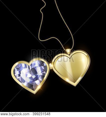 Black Background And Jewel Pendant Medallion Heart With Golden Chain
