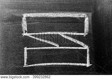 White Chalk Hand Drawing In Blank Award Ribbon Banner Shape On Blackboard Background