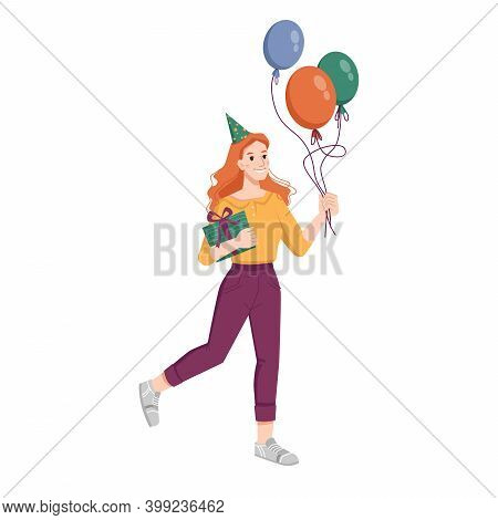 Girl In Cone Shape Hat With Gift Box Happily Jump Isolated Flat Cartoon Person. Vector Redhead Woman
