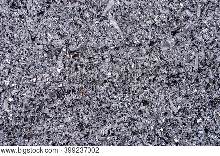 Metal Shavings. Background Of Metallic Chips. Processing Of Ferrous Metals In A Factory. Metal Backg