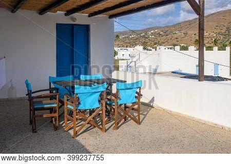 Ios, Greece - September 20, 2020: Balcony Of Greek Summer Villa On Ios Island. Greece