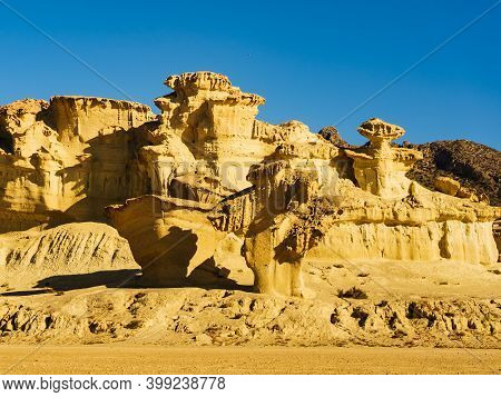 The Enchanted City Of Bolnuevo, Eroded Yellow Sandstone Formations, Murcia Spain. Tourist Attraction