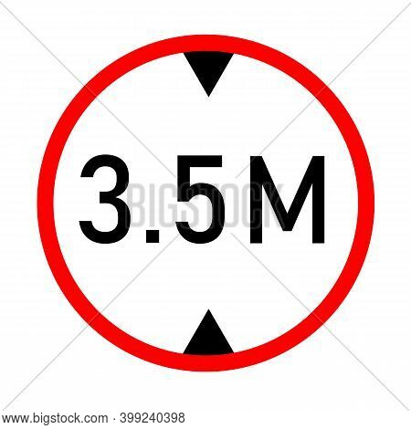 Height Limit Traffic Sign On White Background. Red Circle Sign Found Near That Pass Under Bridges. 3