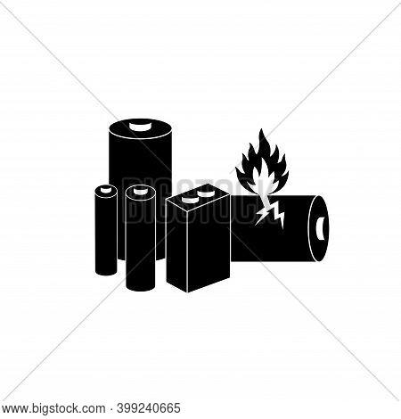Lithium Batteries Black Icon, Vector Illustration, Isolate On White Background Label. Eps10