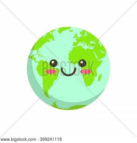 Smiling Earth Logo Icon. Cartoon Planet Ball Character Isolated On White Background Vector Illustrat