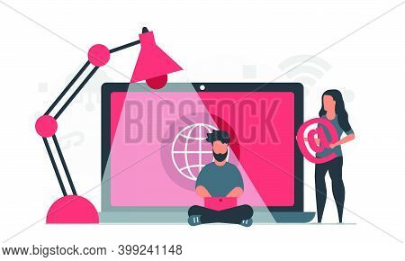Remote Work In The Modern World. Internet Work For People As A Lifestyle. Telecommuting For Man And