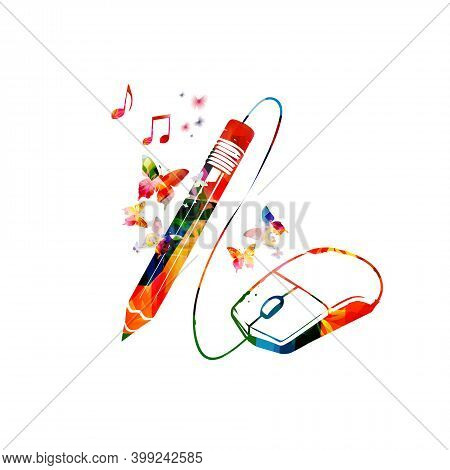 Creative Writing, Education And Learning, Composing Concept Vector Illustration. Online Education, D