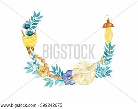 Watercolor Frame With Sewing Tools, A Ball Of Thread With Knitting Needles, A Spindle, Threads On A
